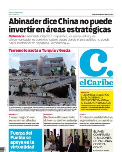 Portada Periódico El Caribe, Sábado 31 de Octubre, 2020