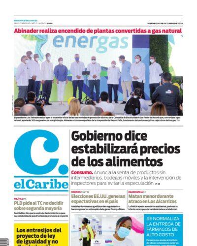 Portada Periódico El Caribe, Viernes 30 de Octubre, 2020
