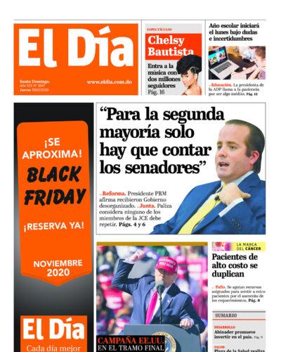 Portada Periódico El Día, Jueves 29 de Octubre, 2020