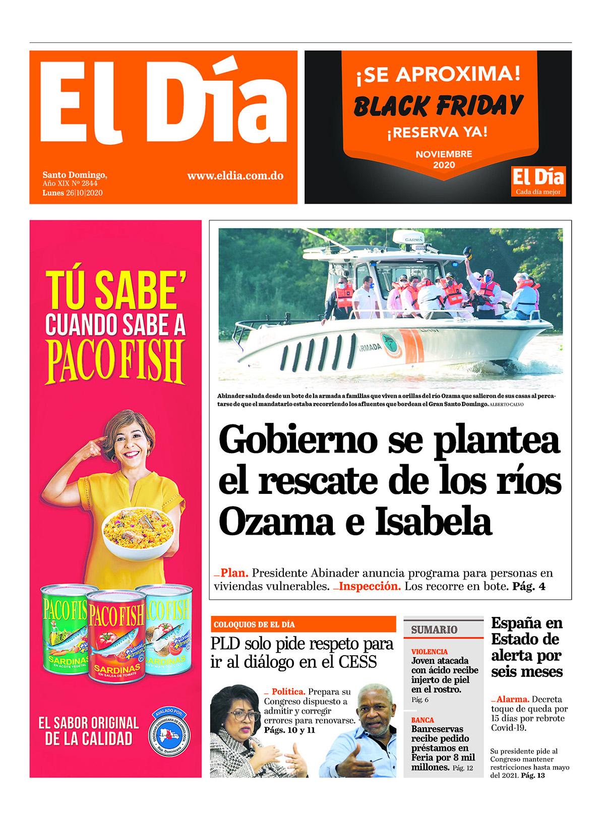 Portada Periódico El Día, Lunes 26 de Octubre, 2020