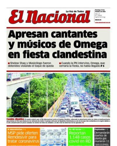 Portada Periódico El Nacional, Domingo 25 de Octubre, 2020