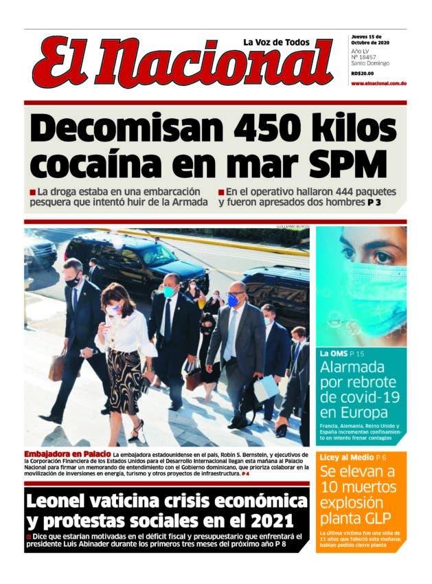 Portada Periódico El Nacional, Jueves 15 de Octubre, 2020