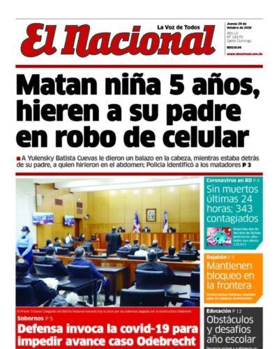 Portada Periódico El Nacional, Jueves 29 de Octubre, 2020