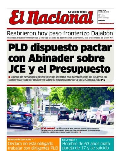 Portada Periódico El Nacional, Lunes 26 de Octubre, 2020
