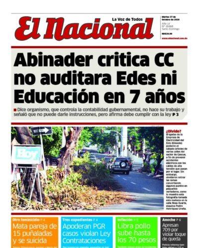 Portada Periódico El Nacional, Martes 27 de Octubre, 2020
