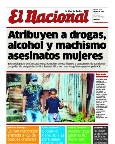 Portada Periódico El Nacional, Viernes 30 de Octubre, 2020