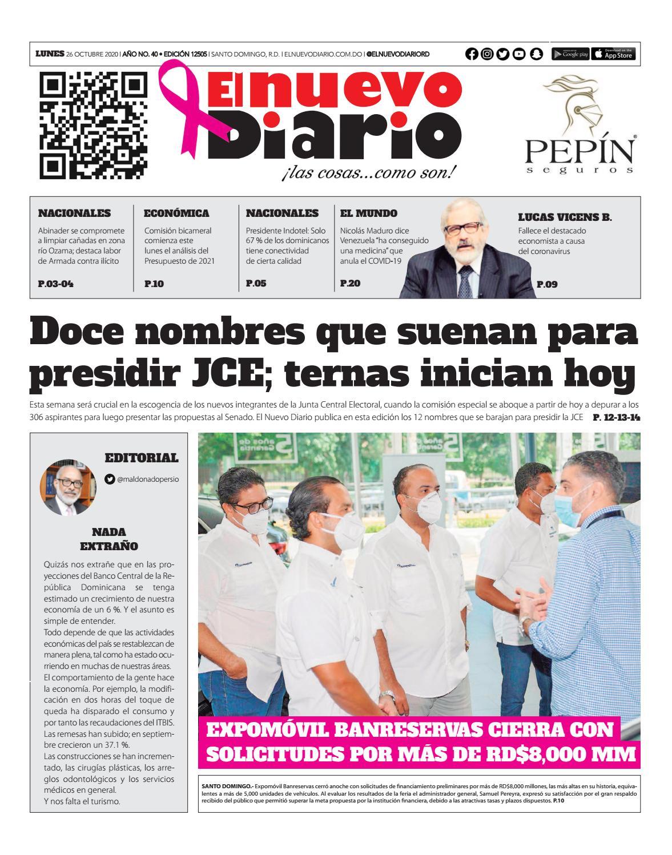 Portada Periódico El Nuevo Diario, Lunes 26 de Octubre, 2020