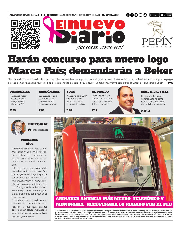 Portada Periódico El Nuevo Diario, Martes 27 de Octubre, 2020
