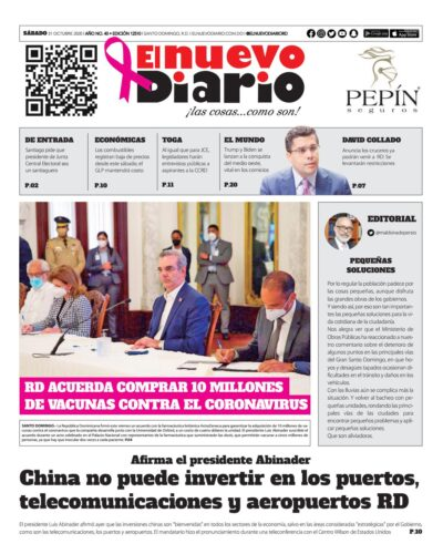 Portada Periódico El Nuevo Diario, Sábado 31 de Octubre, 2020