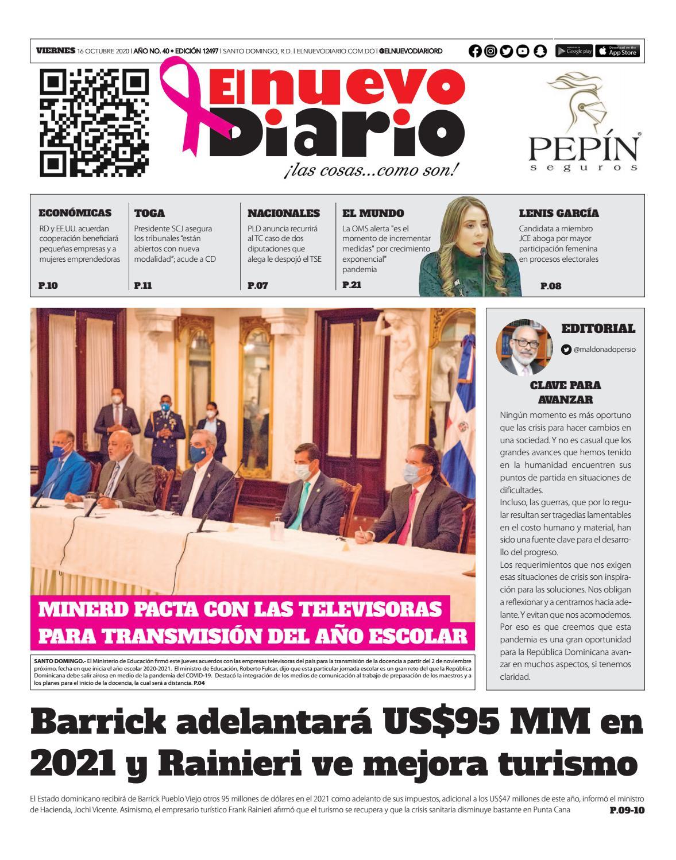 Portada Periódico El Nuevo Diario, Viernes 16 de Octubre, 2020