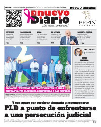Portada Periódico El Nuevo Diario, Viernes 30 de Octubre, 2020