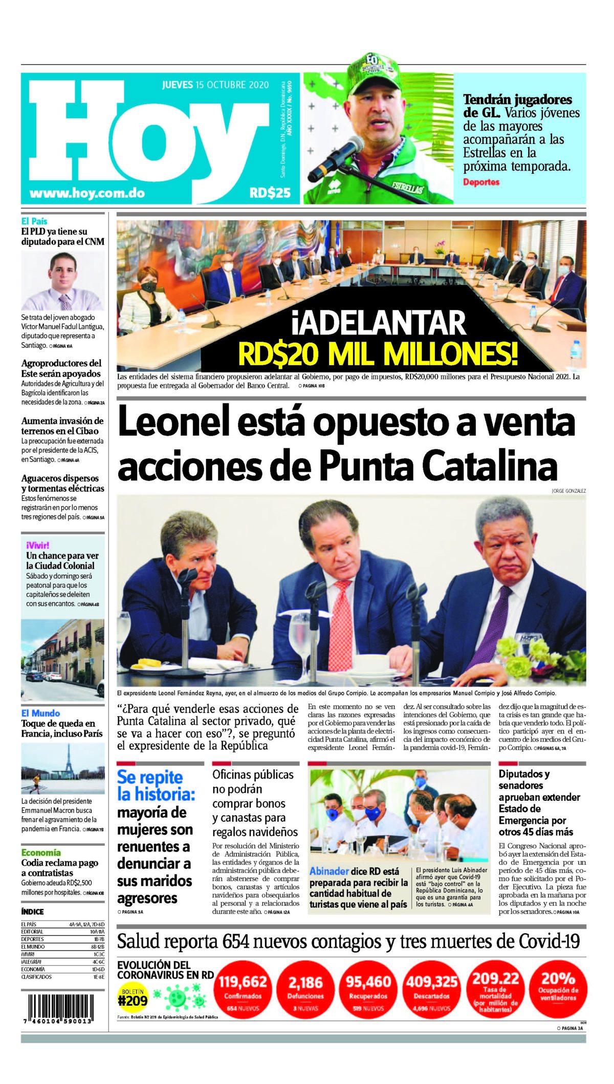 Portada Periódico Hoy, Jueves 15 de Octubre, 2020
