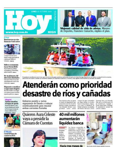Portada Periódico Hoy, Lunes 26 de Octubre, 2020