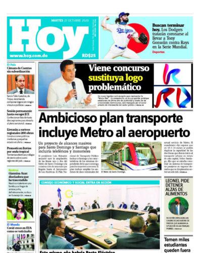 Portada Periódico Hoy, Martes 27 de Octubre, 2020