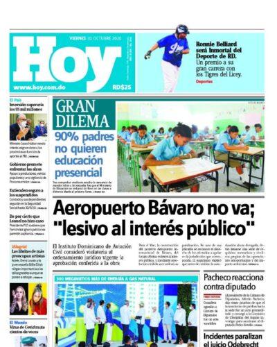 Portada Periódico Hoy, Viernes 30 de Octubre, 2020