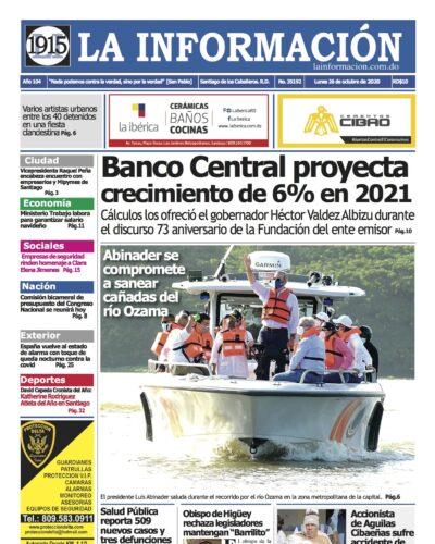 Portada Periódico La Información, Lunes 26 de Octubre, 2020