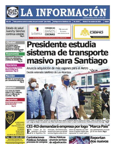 Portada Periódico La Información, Martes 27 de Octubre, 2020