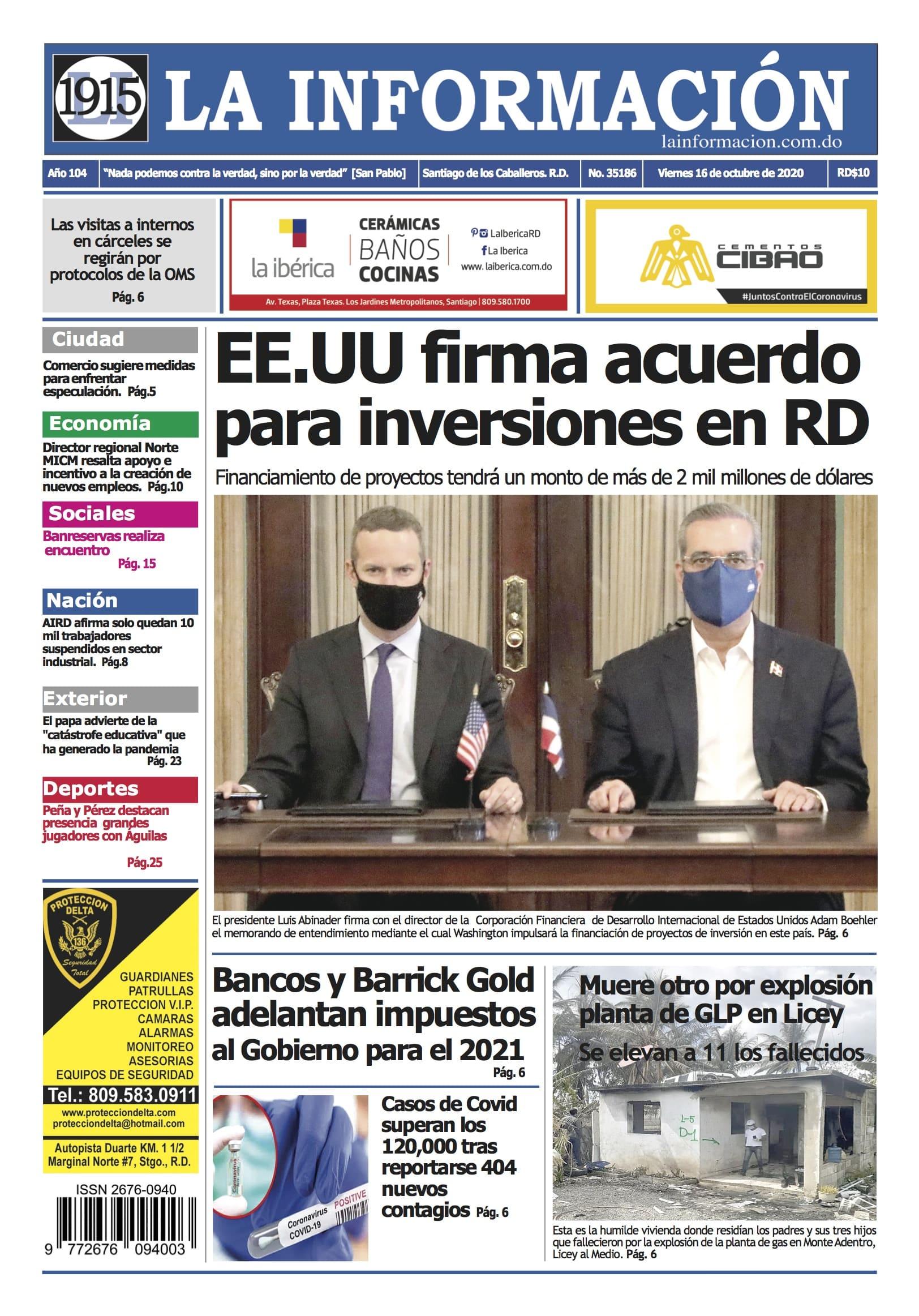 Portada Periódico La Información, Viernes 16 de Octubre, 2020
