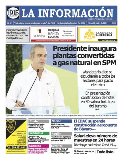 Portada Periódico La Información, Viernes 30 de Octubre, 2020