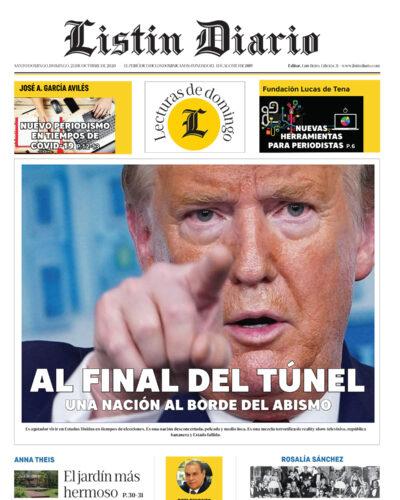 Portada Periódico Listín Diario, Domingo 25 de Octubre, 2020