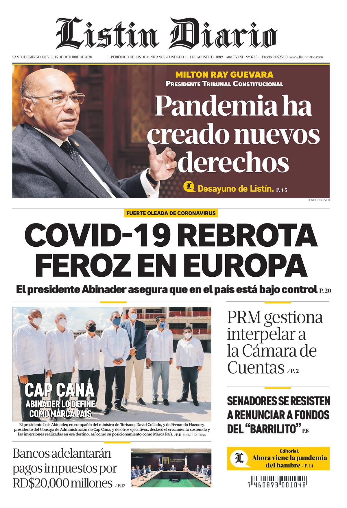 Portada Periódico Listín Diario, Jueves 15 de Octubre, 2020