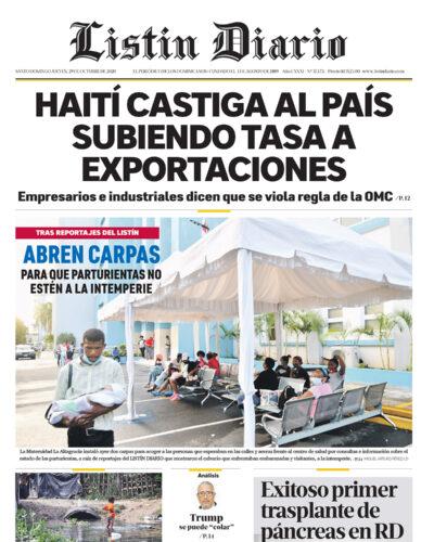 Portada Periódico Listín Diario, Jueves 29 de Octubre, 2020