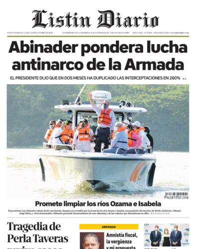 Portada Periódico Listín Diario, Lunes 26 de Octubre, 2020