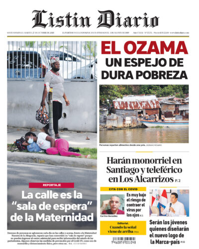 Portada Periódico Listín Diario, Martes 27 de Octubre, 2020