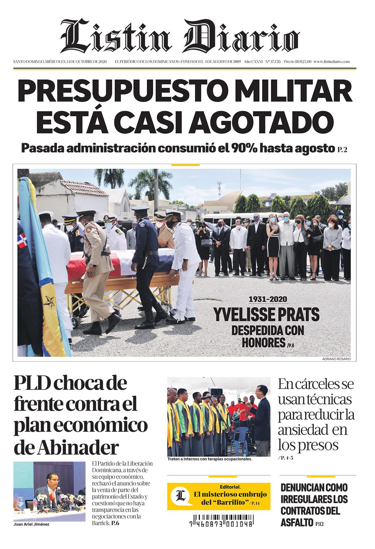 Portada Periódico Listín Diario, Miércoles 14 de Octubre, 2020