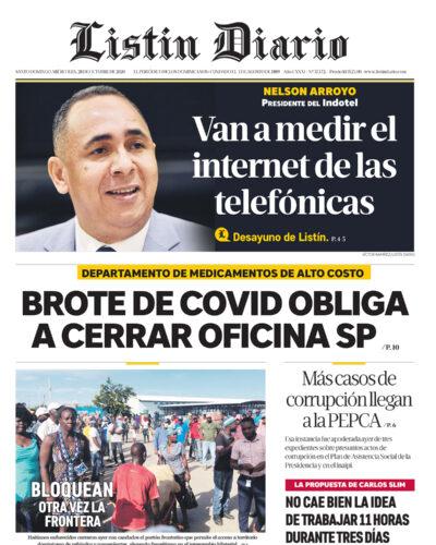 Portada Periódico Listín Diario, Miércoles 28 de Octubre, 2020
