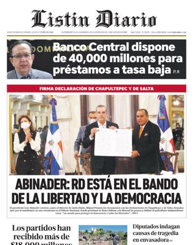 Portada Periódico Listín Diario, Sábado 24 de Octubre, 2020