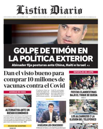 Portada Periódico Listín Diario, Sábado 31 de Octubre, 2020