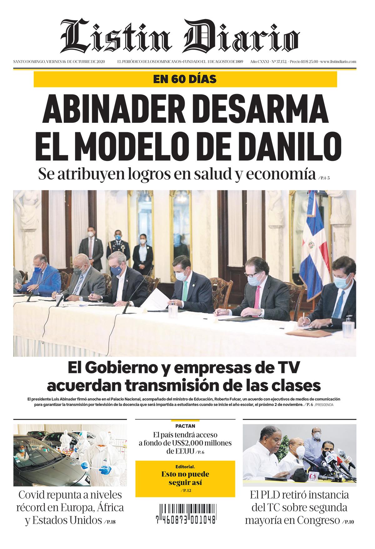 Portada Periódico Listín Diario, Viernes 16 de Octubre, 2020
