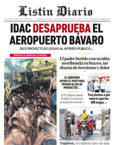 Portada Periódico Listín Diario, Viernes 30 de Octubre, 2020
