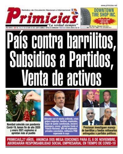 Portada Periódico Primicias, Lunes 26 de Octubre, 2020
