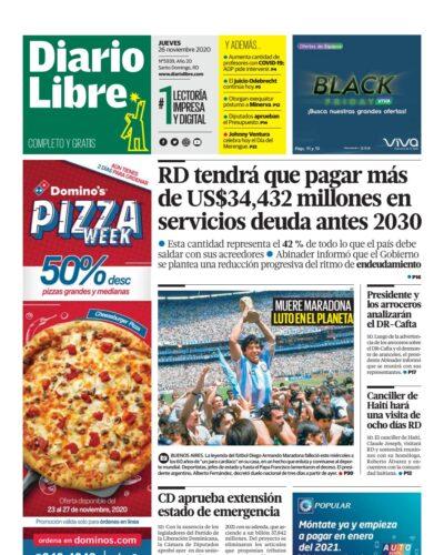 Portada Periódico Diario Libre, Jueves 26 de Noviembre, 2020