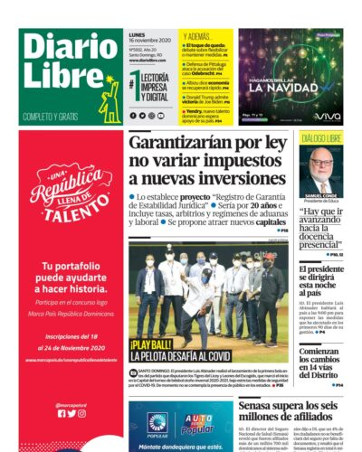 Portada Periódico Diario Libre, Lunes 16 de Noviembre, 2020