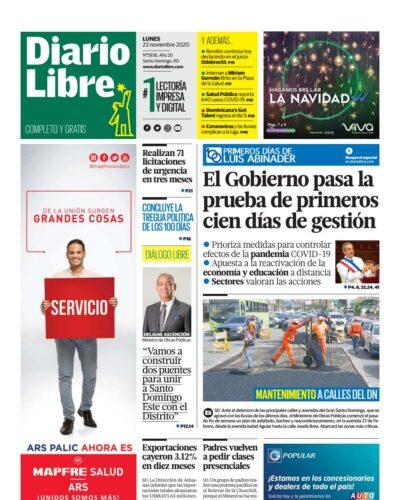 Portada Periódico Diario Libre, Lunes 23 de Noviembre, 2020
