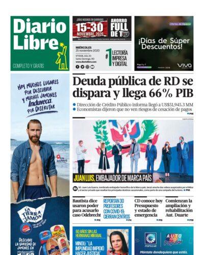 Portada Periódico Diario Libre, Miércoles 25 de Noviembre, 2020