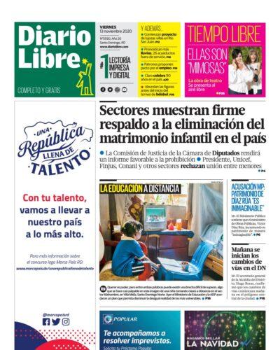 Portada Periódico Diario Libre, Viernes 13 de Noviembre, 2020