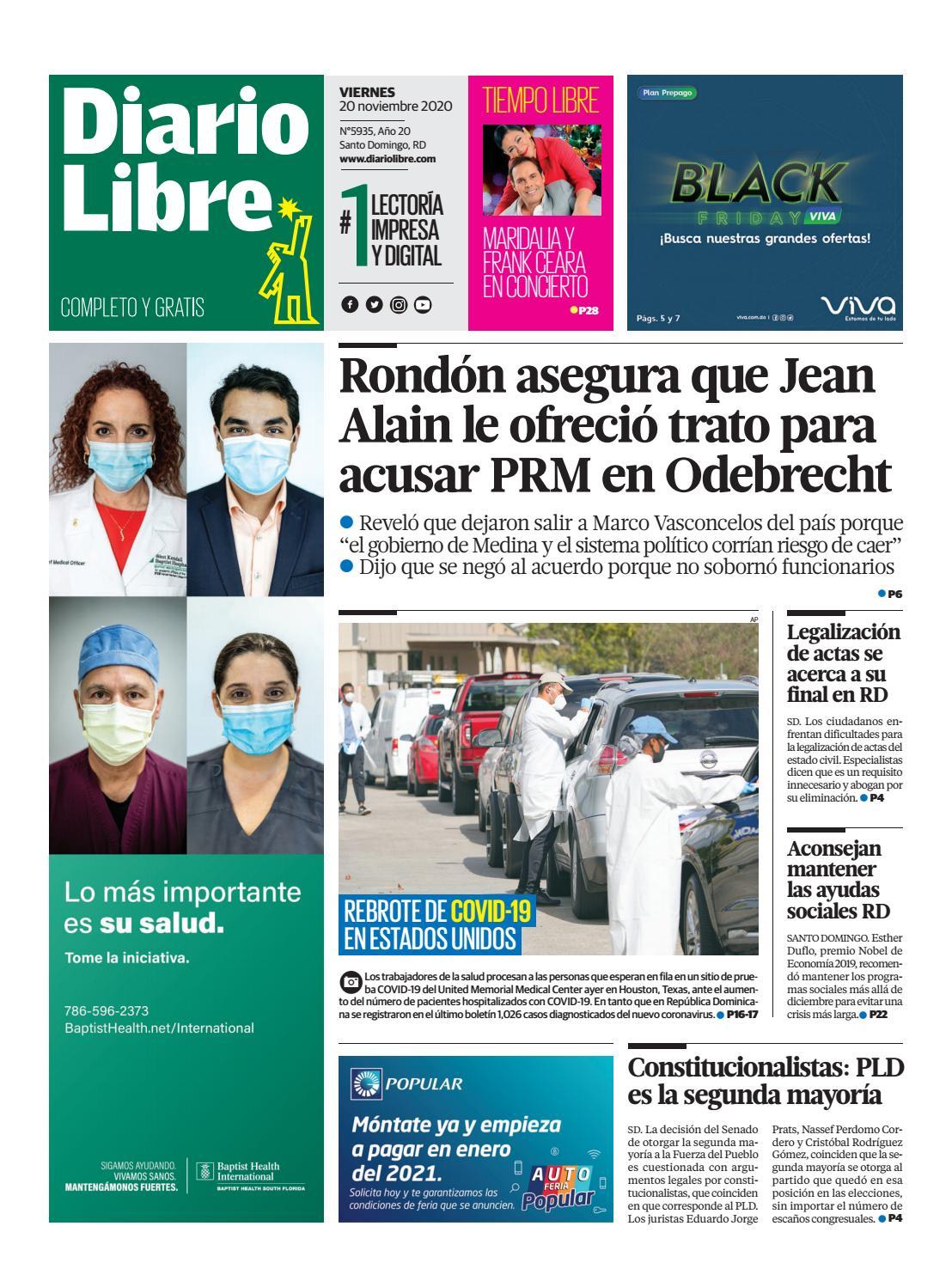 Portada Periódico Diario Libre, Viernes 20 de Noviembre, 2020