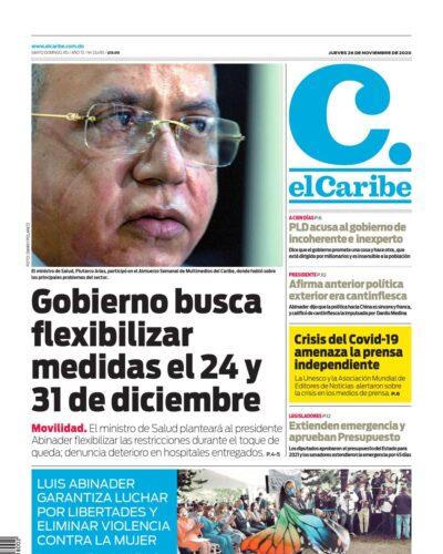 Portada Periódico El Caribe, Jueves 26 de Noviembre, 2020
