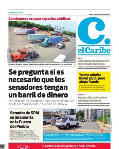 Portada Periódico El Caribe, Lunes 16 de Noviembre, 2020