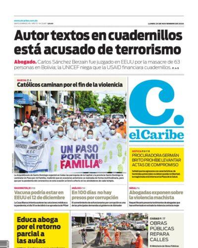 Portada Periódico El Caribe, Lunes 23 de Noviembre, 2020