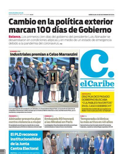Portada Periódico El Caribe, Miércoles 25 de Noviembre, 2020
