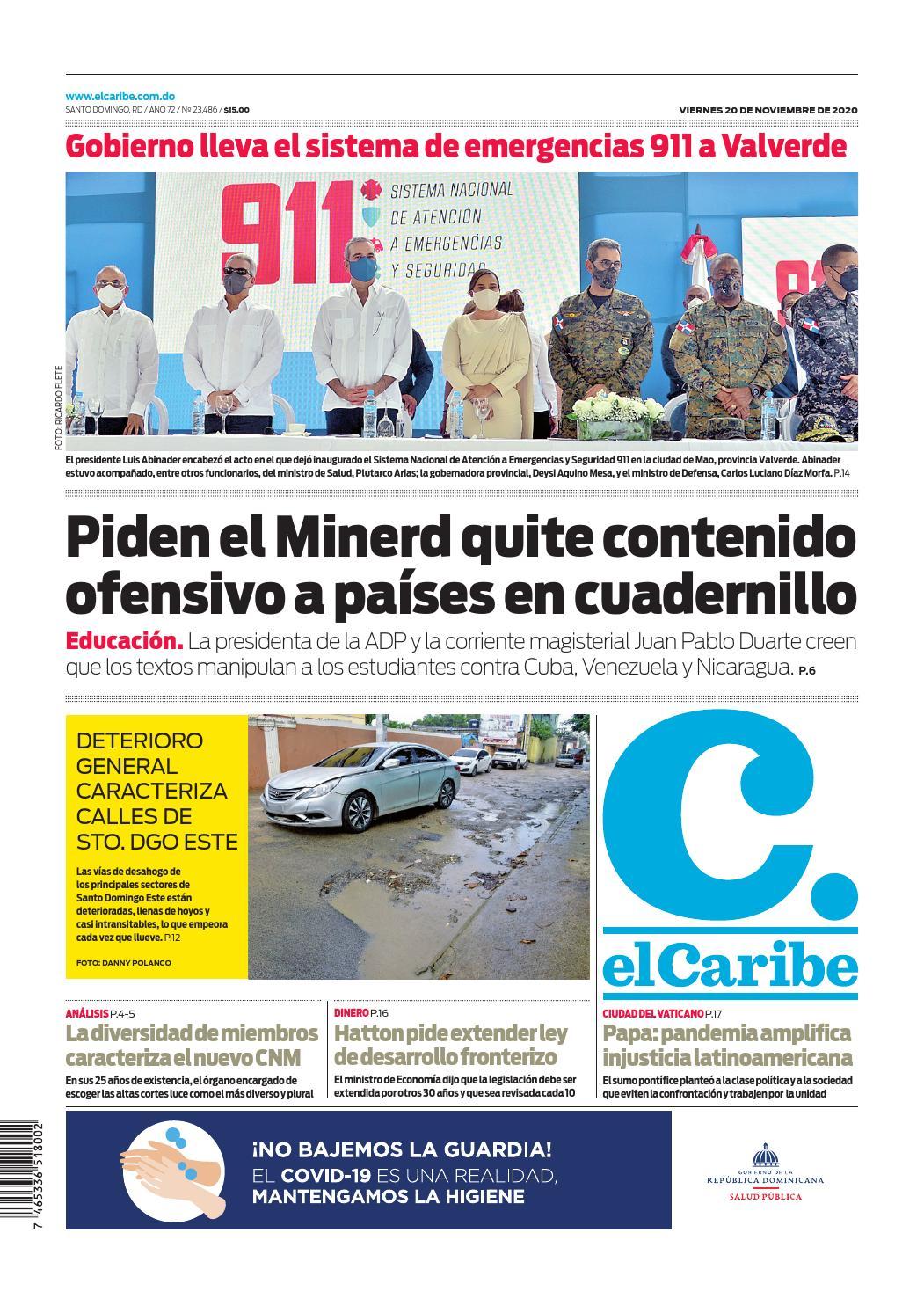 Portada Periódico El Caribe, Viernes 20 de Noviembre, 2020