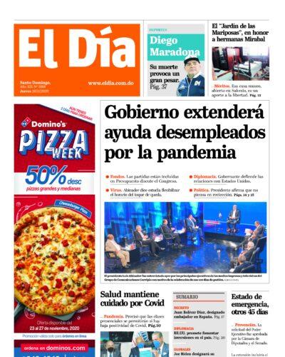 Portada Periódico El Día, Jueves 26 de Noviembre, 2020