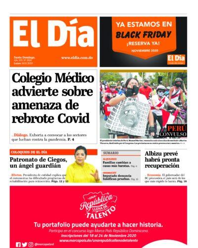 Portada Periódico El Día, Lunes 16 de Noviembre, 2020