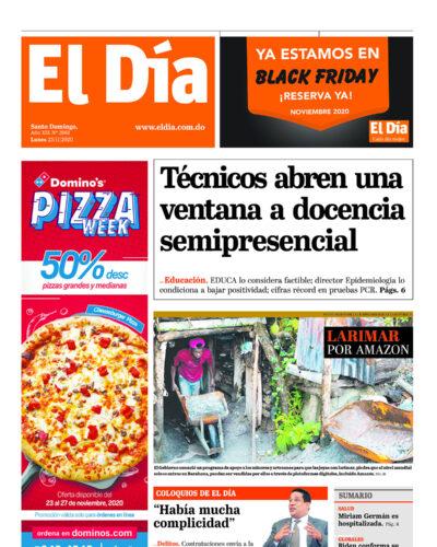 Portada Periódico El Día, Lunes 23 de Noviembre, 2020