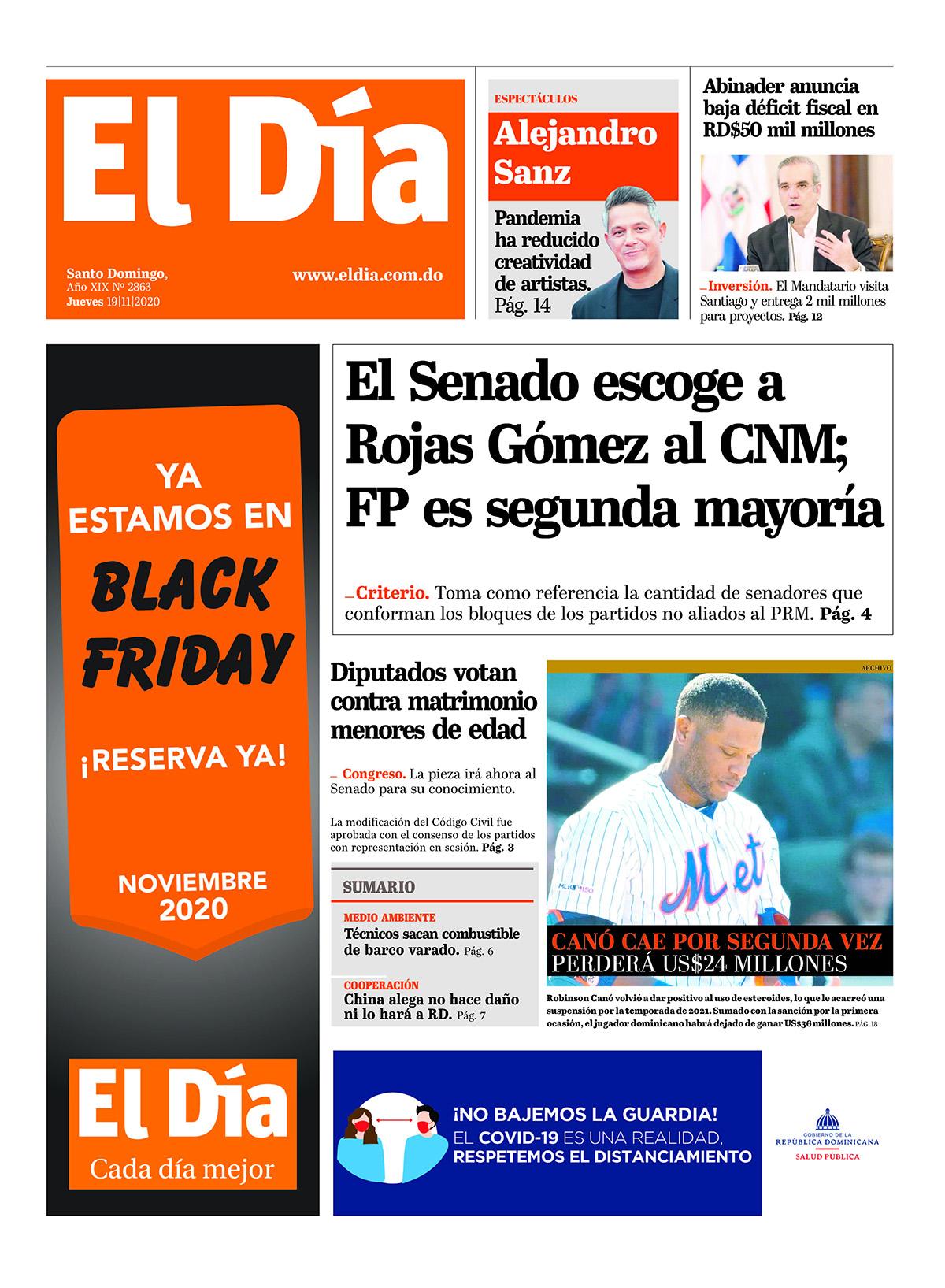 Portada Periódico El Día, Viernes 20 de Noviembre, 2020